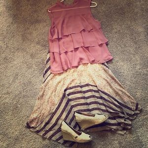 Limited skirt.  Apt 9'ruffle top.  Wedges.